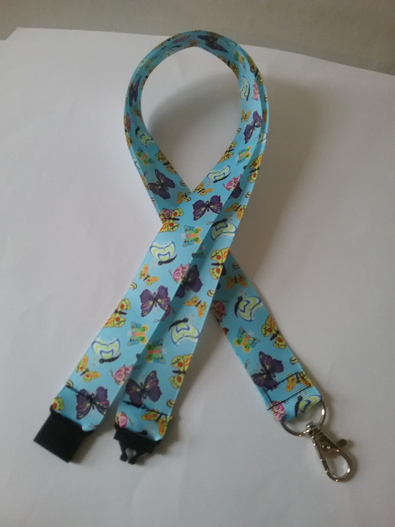 Blue butterfly ribbon safety breakaway lanyard id or whistle holder - Tilly Bees