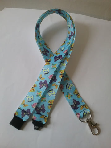 Blue butterfly ribbon safety breakaway lanyard id or whistle holder