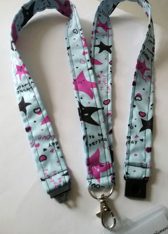 Blue starfish fabric lanyard with safety breakaway landyard id or whistle holder neck strap love happy slogans