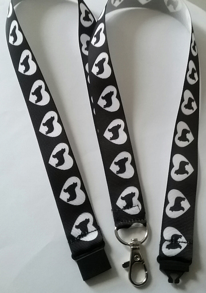 Border Collie silhouette ribbon safety breakaway lanyard id or whistle holder love heart design - Tilly Bees