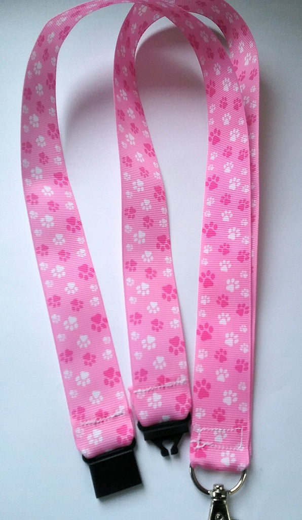 Pink paw print ribbon lanyard with safety breakaway fastener pink cat dog paw print patterned ribbon landyard id holder keyring - Tilly Bees