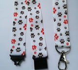 White cat / dog paw print patterned ribbon landyard id holder keyring with safety breakaway clip - Tilly Bees