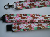 Lanyard with safety breakaway fastener brown horse pink love heart print patterned ribbon landyard id holder keyring - Tilly Bees