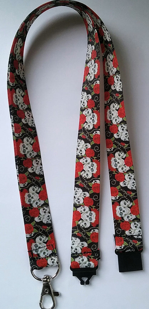 Lanyard skulls & red roses goth patterned ribbon with safety breakaway fastener landyard id holder keyring - Tilly Bees