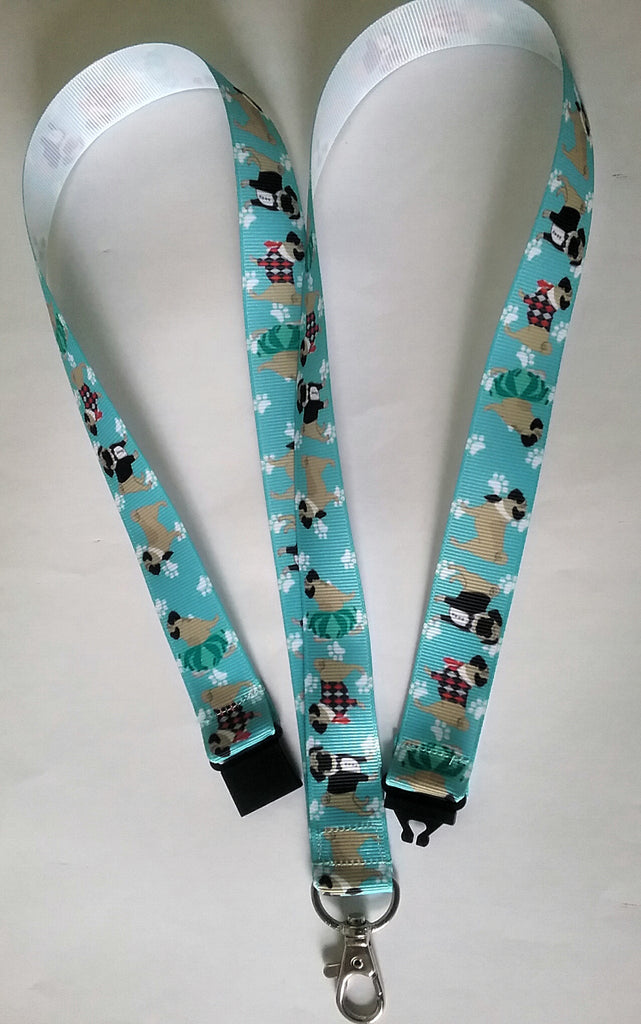 Pug Dog patterned turquoise ribbon Lanyard with safety breakaway fastener and swivel lobster clasp lanyard id or whistle holder - Tilly Bees