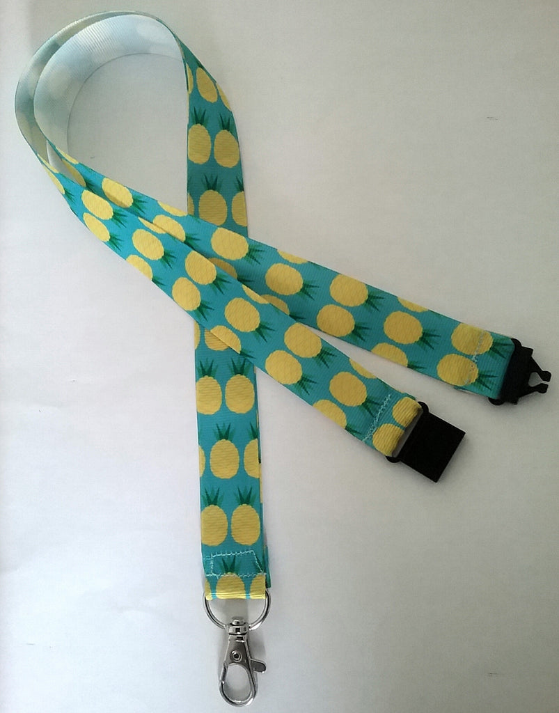 Lanyard - Pineapples on blue ribbon with safety breakaway and lobster clasp lanyard id or whistle holder - Tilly Bees