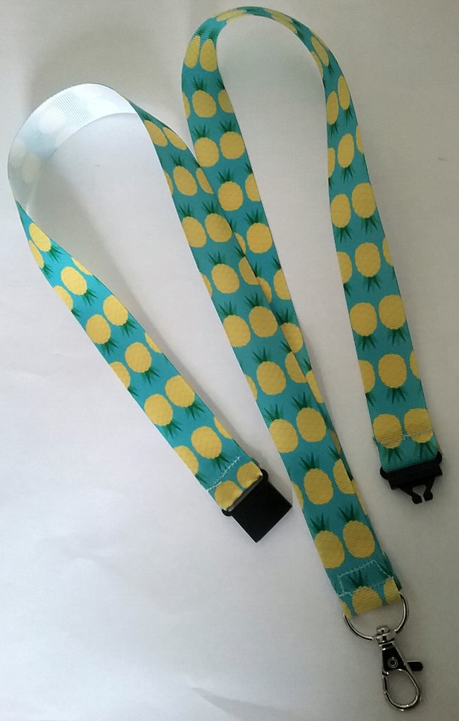 Pineapple pattern ribbon Lanyard with safety breakaway fastener and swivel lobster clasp lanyard id or whistle holder - Tilly Bees