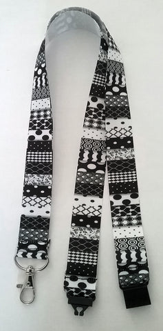 Black & white pattern Lanyard with safety breakaway fastener and swivel lobster clasp lanyard id or whistle holder