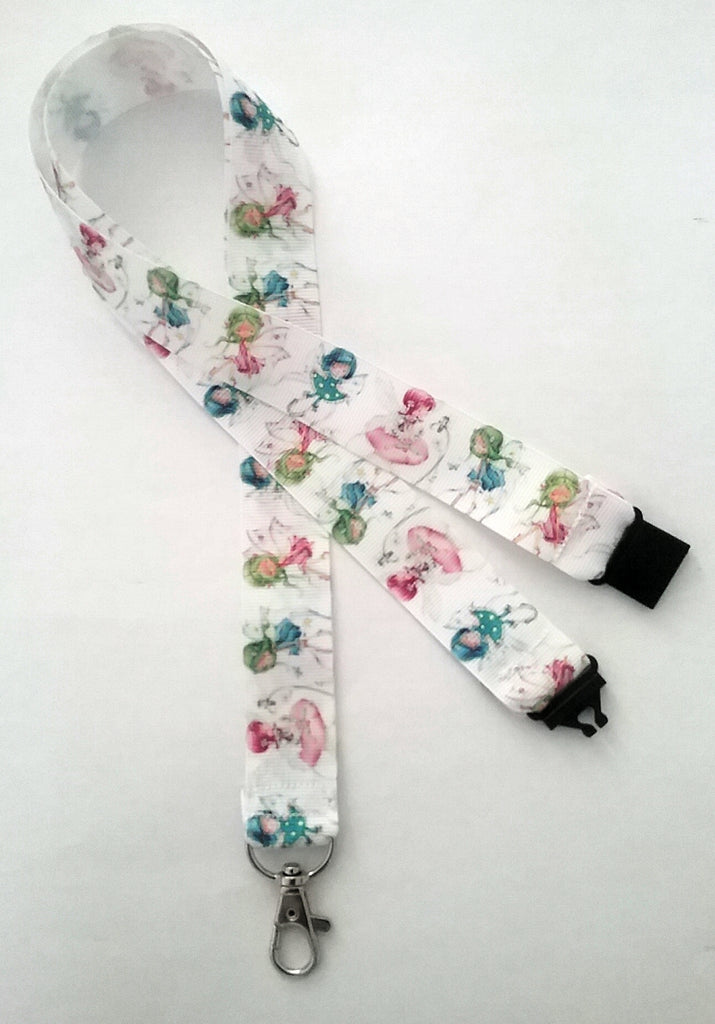 Fairies on white ribbon safety breakaway lanyard id or whistle holder fairy under a fiver secret santa gift - Tilly Bees