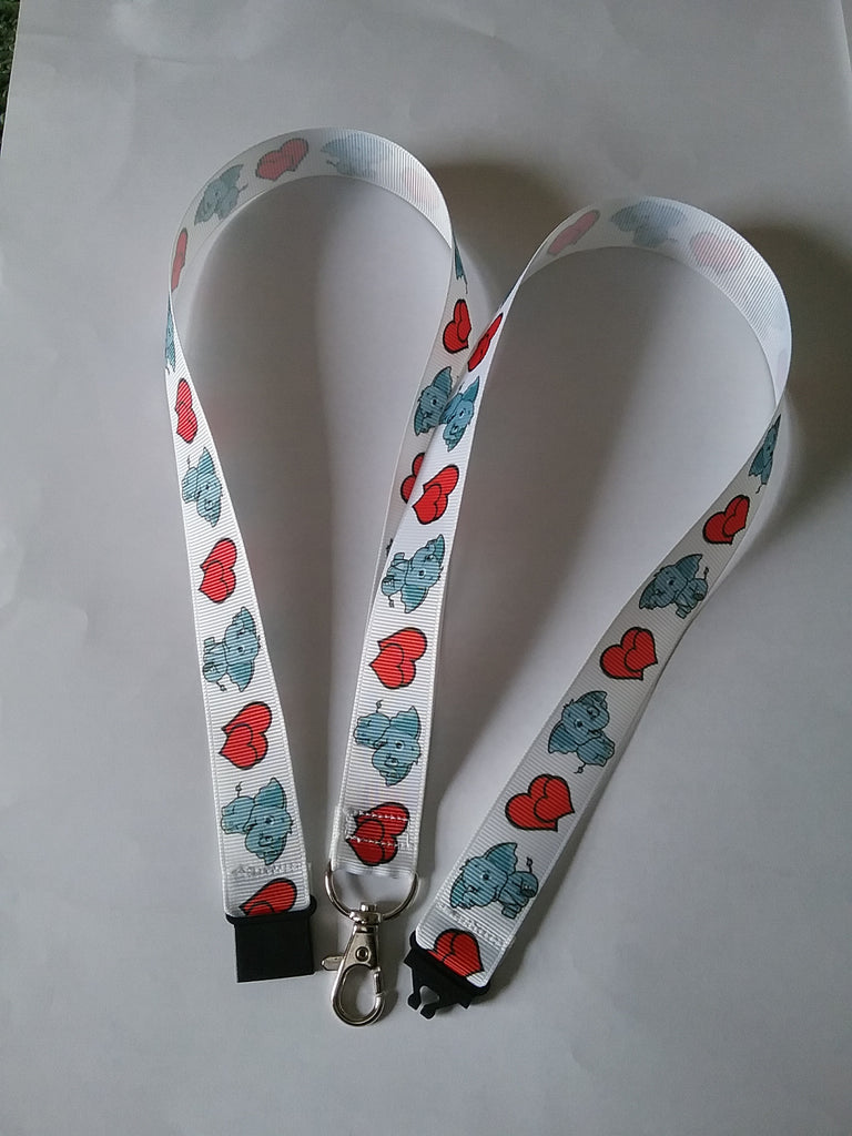 White ribbon with Cute elephants and red hearts made with a safety breakaway lanyard id or whistle holder with swivel lobster clasp - Tilly Bees
