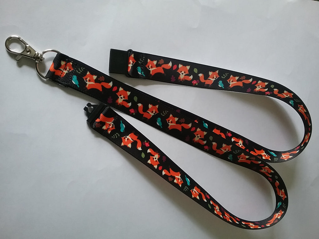 Fox & birds on black ribbon lanyard made with a safety breakaway id or whistle holder with swivel lobster clasp - Tilly Bees