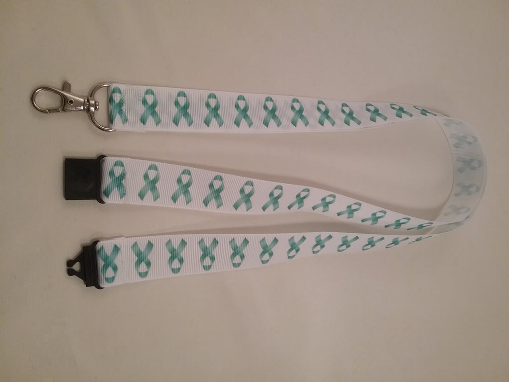 Cervical cancer jade ribbons on a white ribbon lanyard made with a safety quick release breakaway id or whistle holder with swivel lobster clasp - Tilly Bees