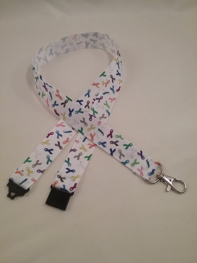 Cancer support Multi coloured ribbons on white ribbon lanyard made with a safety quick release breakaway id or whistle holder with swivel lobster clasp - Tilly Bees