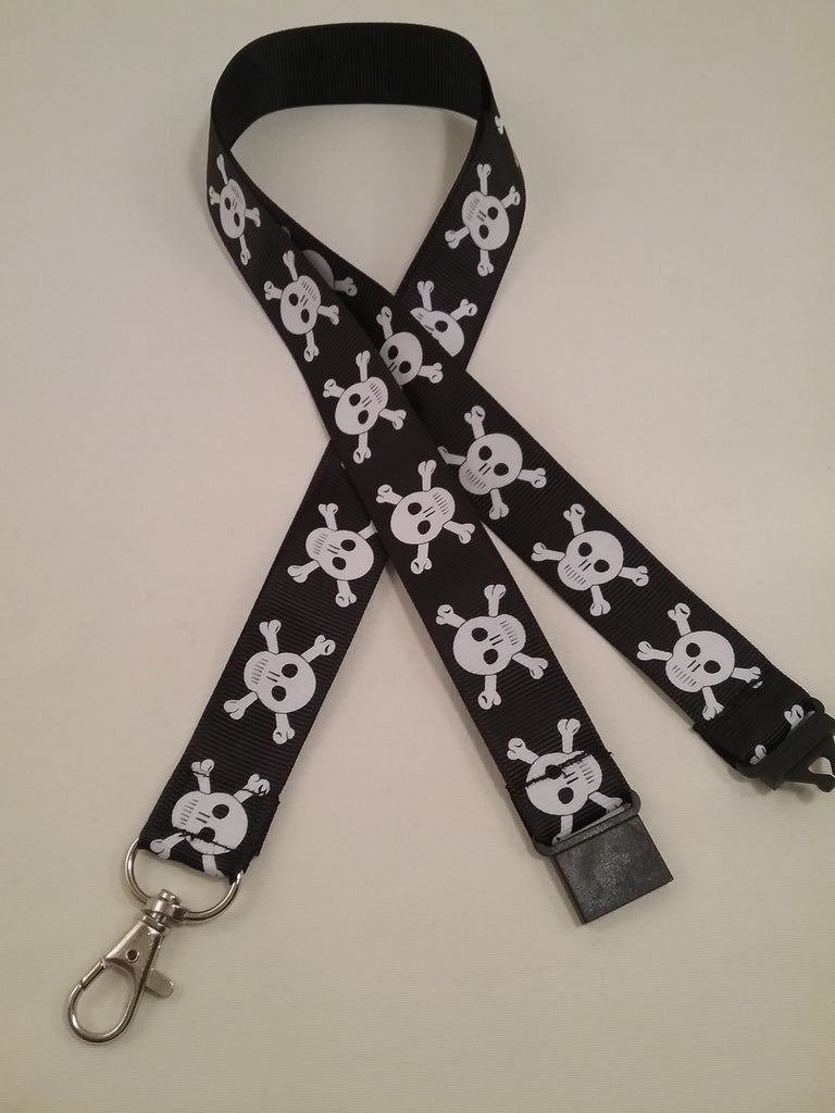 White Skull & crossbones on a black ribbon lanyard made with a safety quick release breakaway id or whistle holder with swivel lobster clasp - Tilly Bees