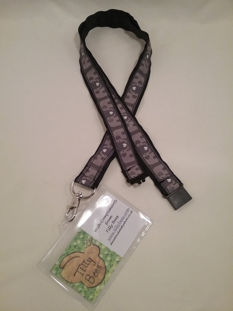Grey elephants on black grosgrain ribbon safety breakaway lanyard id bage or key holder - Tilly Bees