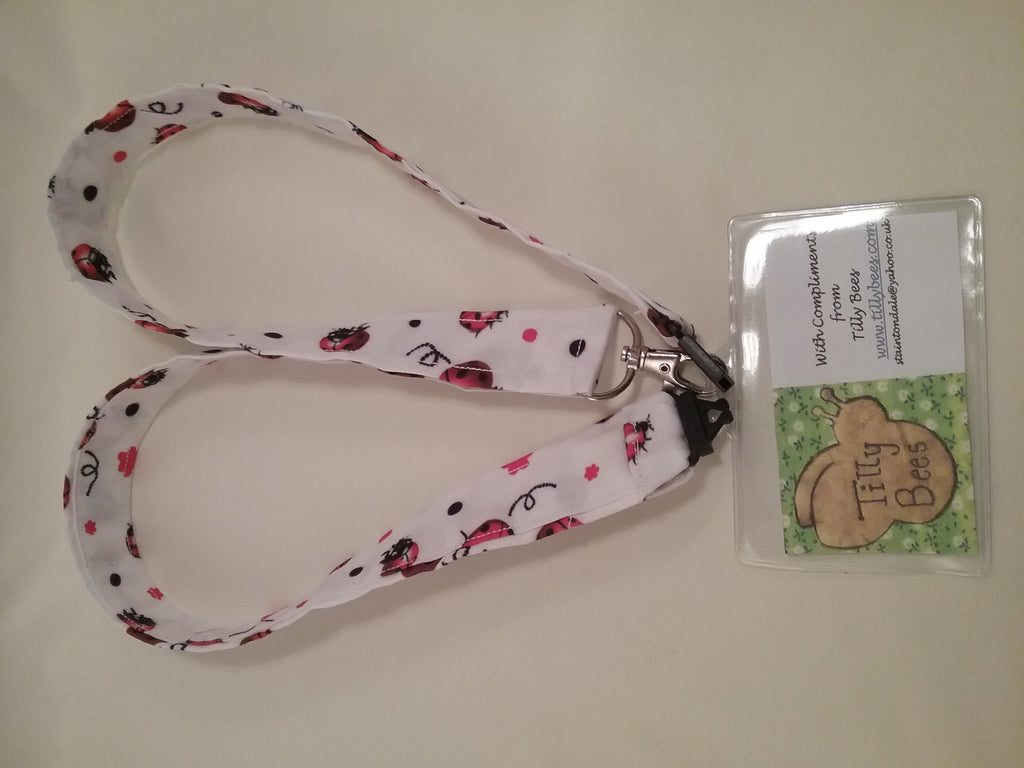 Ladybirds on white fabric lanyard with safety breakaway landyard id or whistle holder neck strap teacher gift - Tilly Bees