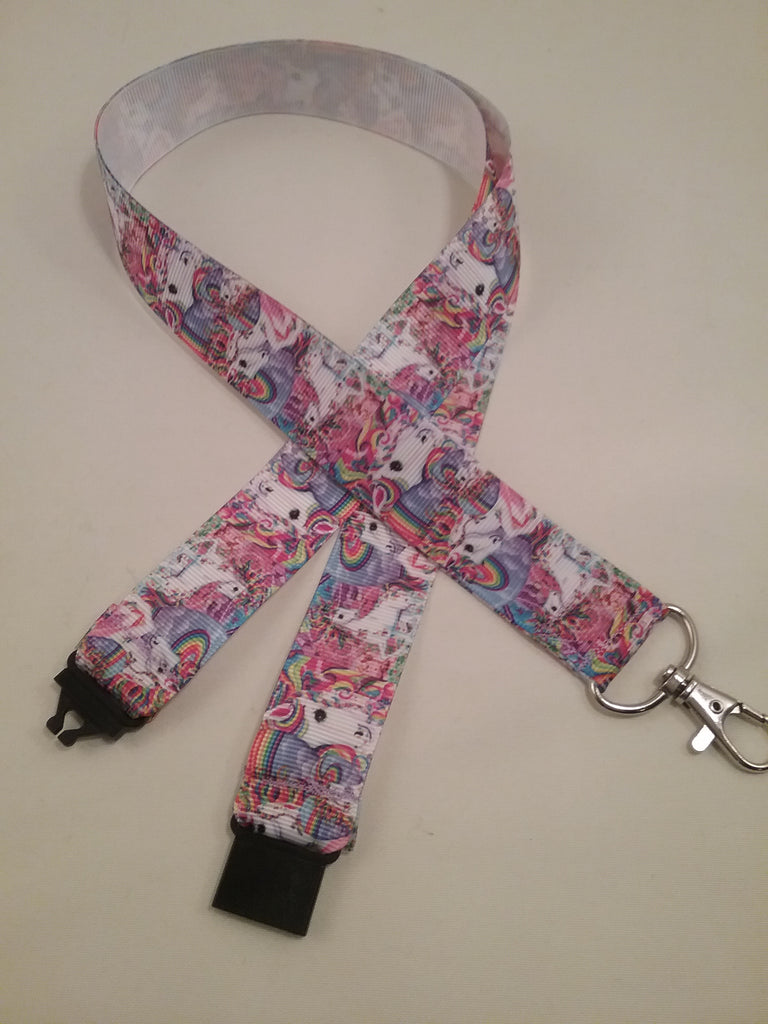 Dancing unicorns ribbon lanyard made with a safety quick release breakaway id or whistle holder with swivel lobster clasp - Tilly Bees