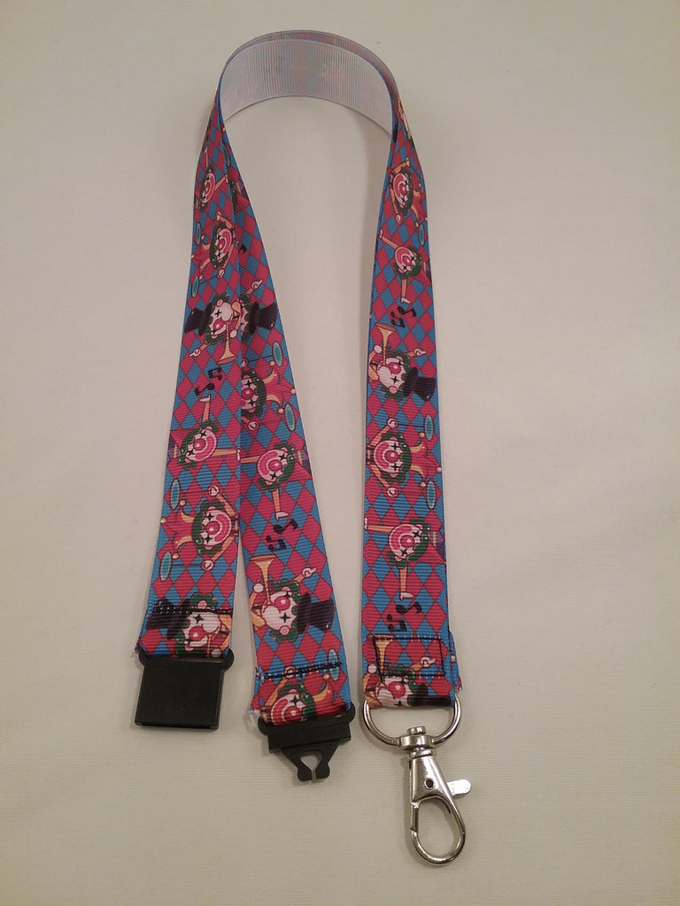 Clown patterned ribbon lanyard made with a safety quick release breakaway id or whistle holder with swivel lobster clasp - Tilly Bees