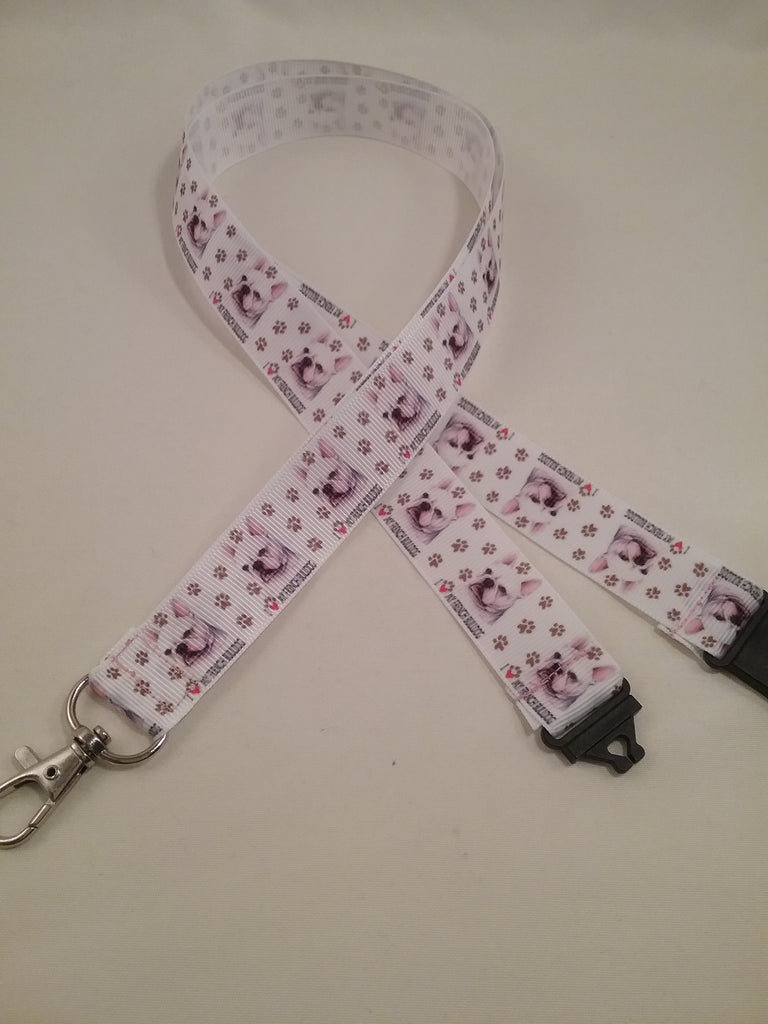 I Love French Bulldog patterned ribbon Lanyard it has a safety breakaway fastener with swivel lobster clasp lanyard id or whistle holder - Tilly Bees