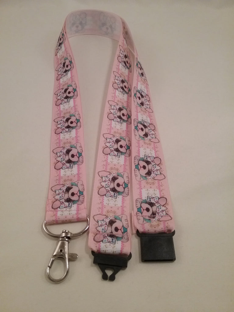 Pink French Bulldog heads patterned ribbon Lanyard it has a safety breakaway fastener with swivel lobster clasp lanyard id or whistle holder - Tilly Bees