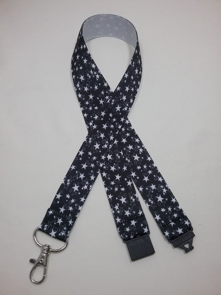 Black with white stars patterned ribbon Lanyard it has a safety breakaway fastener with swivel lobster clasp lanyard id or whistle holder - Tilly Bees