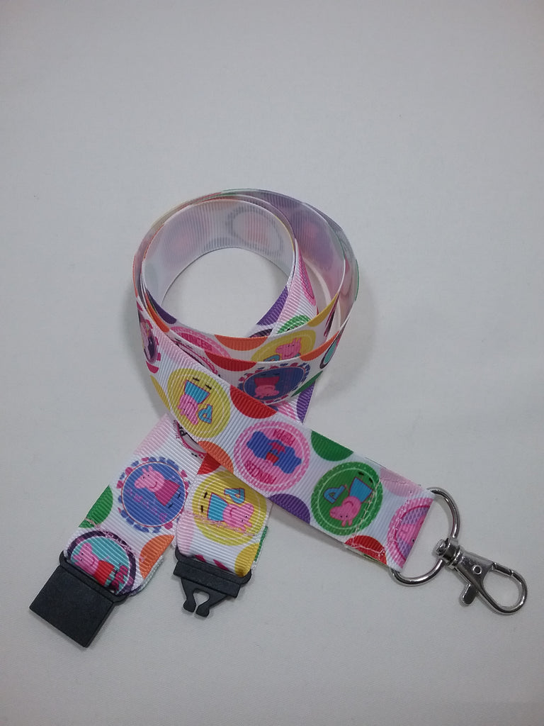 Pink and red Peppa pig patterned ribbon Lanyard it has a safety breakaway fastener with swivel lobster clasp lanyard id or whistle holder - Tilly Bees