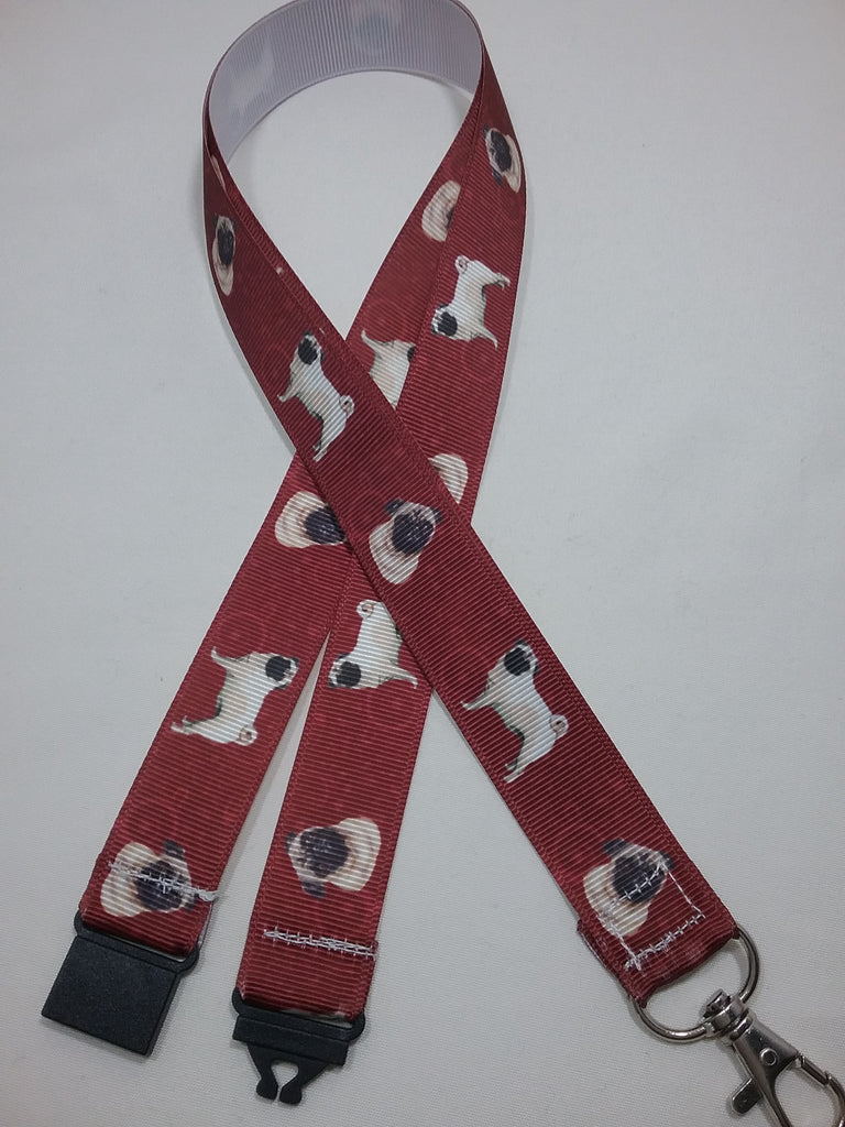 Pug dogs puppies patterned rusty red coloured ribbon Lanyard it has a safety breakaway fastener with swivel lobster clasp lanyard id or whistle holder - Tilly Bees