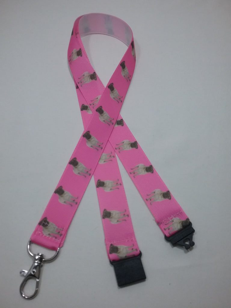 Cute Pug dogs puppies patterned pink coloured ribbon Lanyard it has a safety breakaway fastener with swivel lobster clasp lanyard id or whistle holder - Tilly Bees