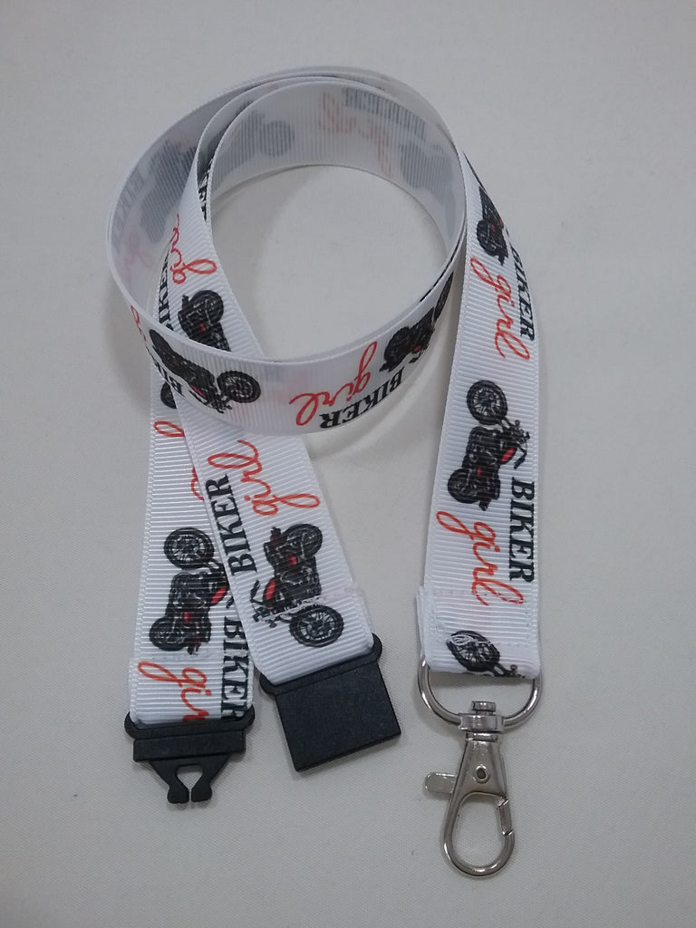 Motorbike biker girl ribbon Lanyard it has a safety breakaway fastener with swivel lobster clasp lanyard id or whistle holder - Tilly Bees