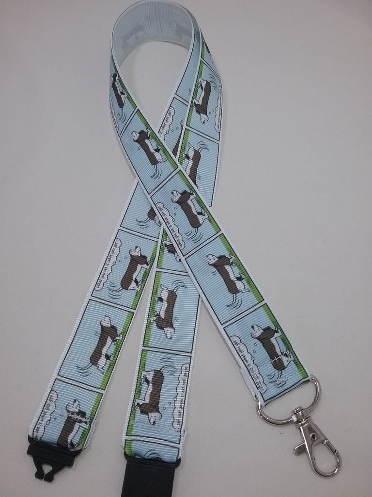 Blue cartoon Basset Hound Dog ribbon Lanyard it has a safety breakaway fastener with swivel lobster clasp lanyard id or whistle holder - Tilly Bees