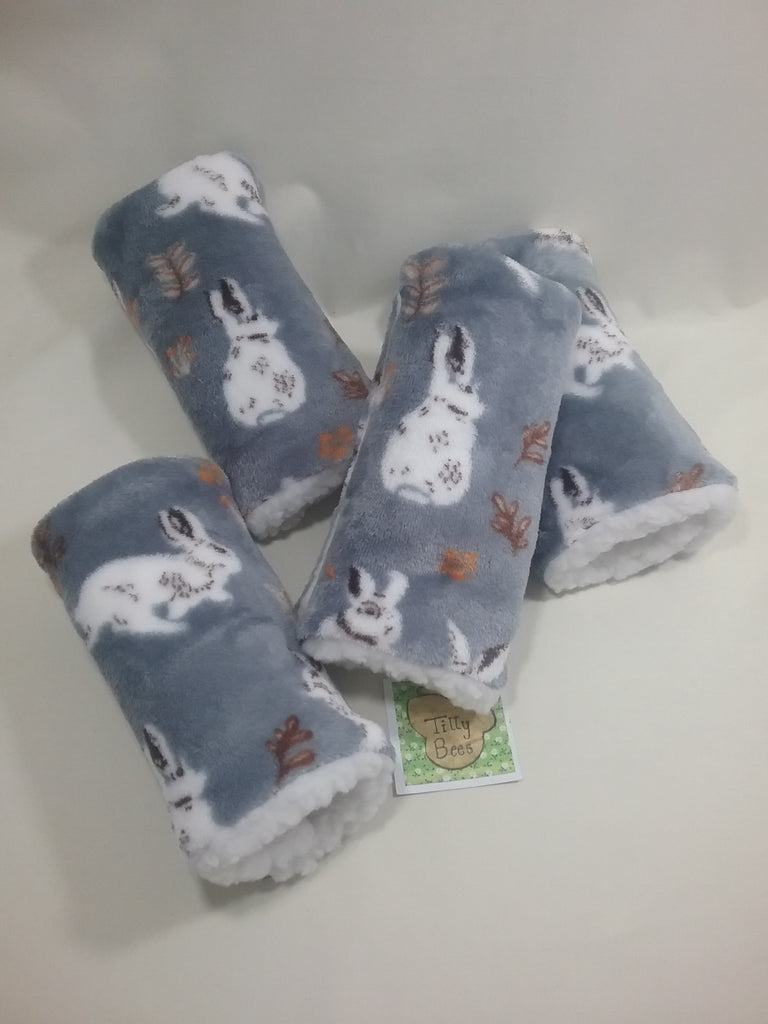 Seat belt cover luggage strap handle wrap super soft grey rabbit fleece fabric cream fleece on the back - Tilly Bees