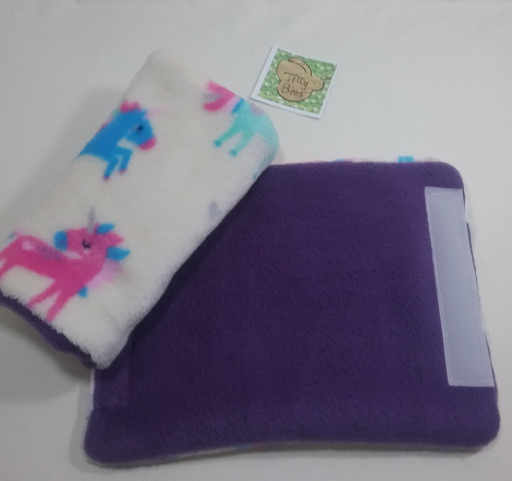 Seat belt cover luggage strap handle wrap creamy white unicorn fleece fabric purple fleece on other side - Tilly Bees