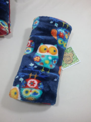 Seat belt cover luggage strap handle wrap owl patterned fleece fabric yellow fleece