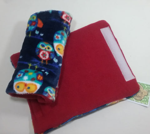 Seat belt cover luggage strap handle wrap owl patterned fleece fabric redfleece