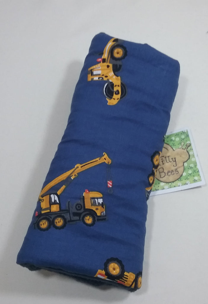 Seat belt cover luggage strap handle wrap diggers construction tractors on navy cotton fabric navy fleece - Tilly Bees