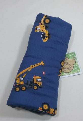 Seat belt cover luggage strap handle wrap diggers construction tractors on navy cotton fabric navy fleece