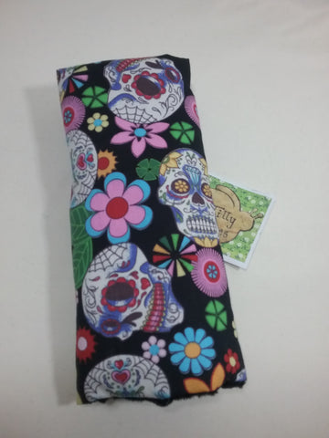 Seat belt cover luggage strap handle wrap Coloured skulls cotton fabric black fleece