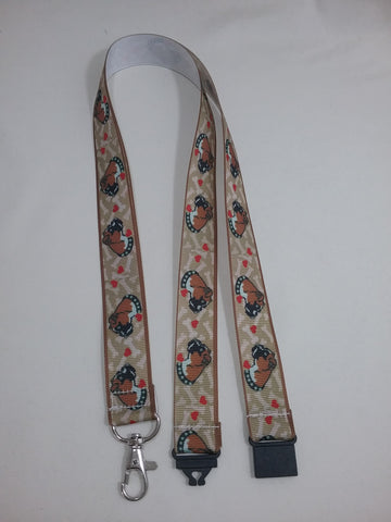 Boxer dog patterned ribbon Lanyard it has a safety breakaway fastener with swivel lobster clasp lanyard ID holder whistle holder