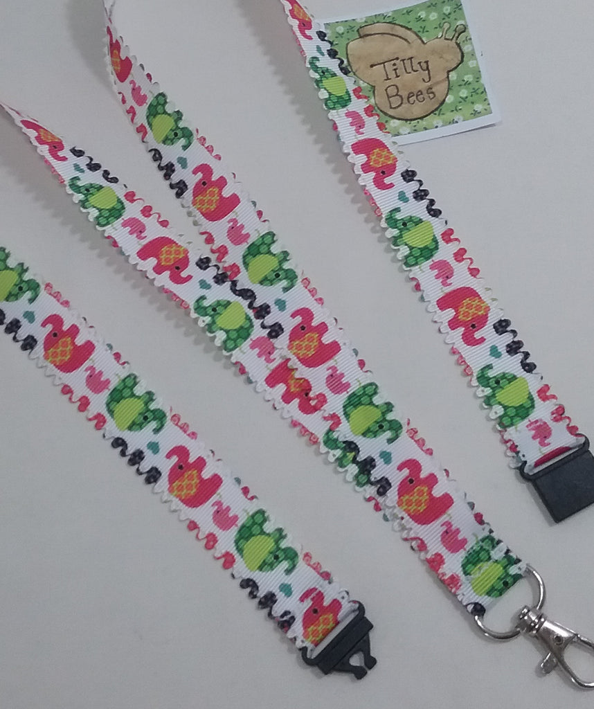 Scalloped edged Elephant patterned ribbon Lanyard with safety breakaway fastener with swivel lobster clasp lanyard ID holder whistle holder - Tilly Bees
