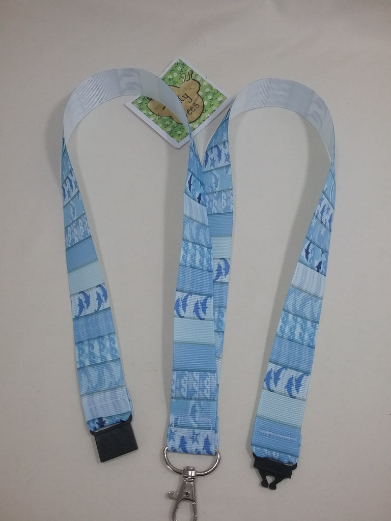 Porpoise Dolphin starfish on blue Ribbon Lanyard with safety breakaway fastener patterned id holder keyring - Tilly Bees