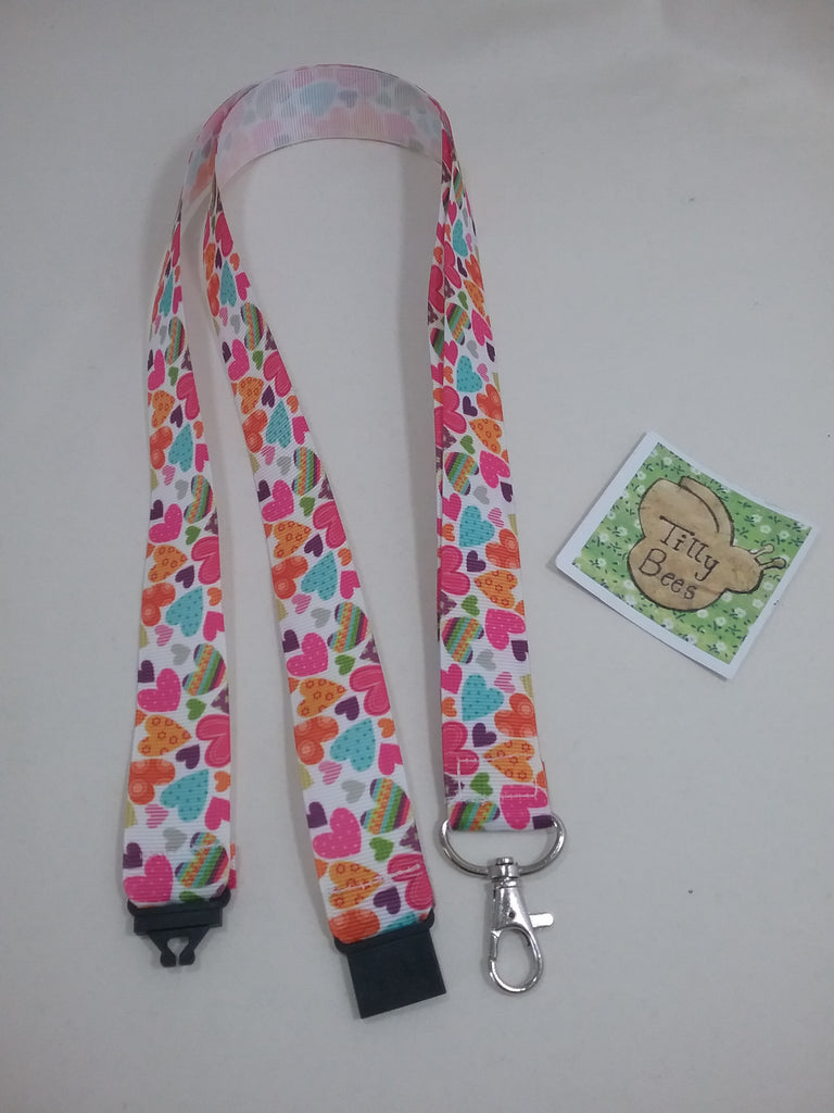 Coloured Hearts ribbon Lanyard with safety breakaway fastener with swivel lobster clasp lanyard ID holder whistle holder - Tilly Bees