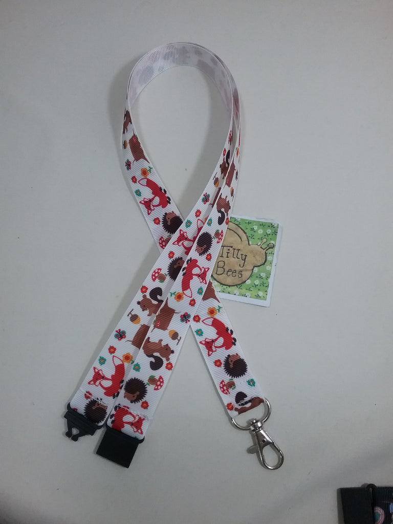 Fox ribbon lanyard with safety breakaway and lobster clasp lanyard ID holder great gifts for students - Tilly Bees