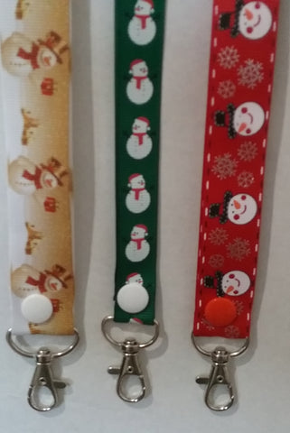 CHRISTMAS LANYARDS Jolly Snowmen in different colours ribbon safety breakaway lanyard id or whistle holder