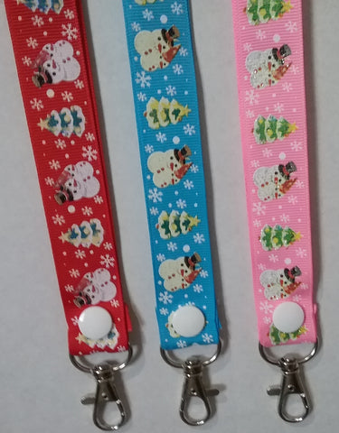 CHRISTMAS LANYARDS Glitter Snowmen Red Pink or Blue ribbon safety breakaway lanyard id holder or whistle holder