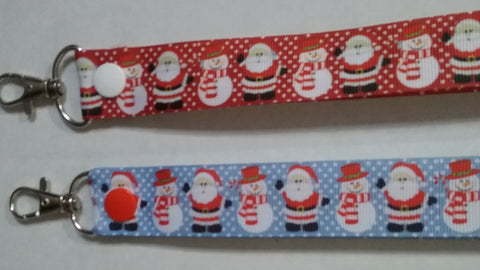 CHRISTMAS LANYARDS santa & snowman red or blue ribbon safety breakaway lanyard id or whistle holder