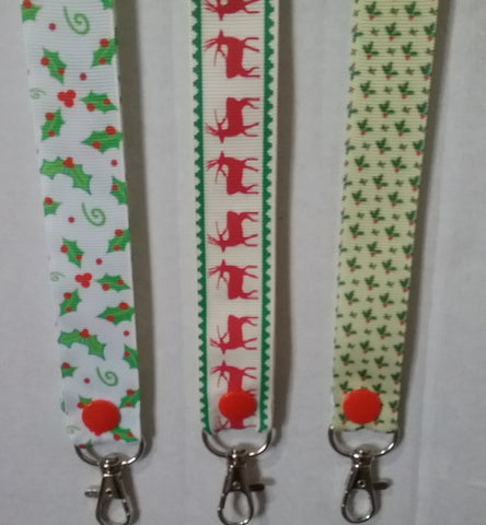 CHRISTMAS LANYARDS Holly or Reindeers ribbon safety breakaway lanyard id holder / whistle holder