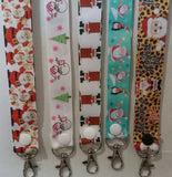 CHRISTMAS LANYARDS theres Santa or Snowmen leopard print or stuck in a chimney you choose ribbon safety breakaway lanyard id holder / whistle holder - Tilly Bees