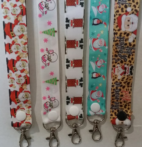 CHRISTMAS LANYARDS theres Santa or Snowmen leopard print or stuck in a chimney you choose ribbon safety breakaway lanyard id holder / whistle holder