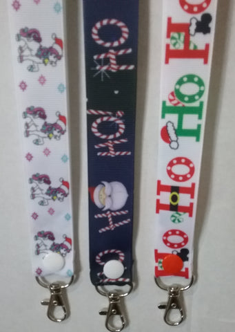 CHRISTMAS LANYARDS HO HO HO Navy or White or a Pony with a santa hat you choose ribbon safety breakaway lanyard id holder / whistle holder