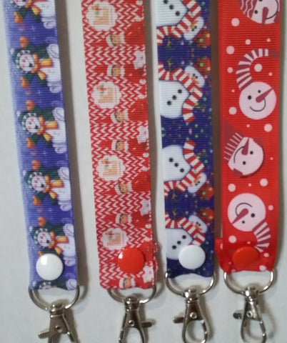 CHRISTMAS LANYARDS Santa & Elves Snowman and more you choose ribbon safety breakaway lanyard id holder / whistle holder